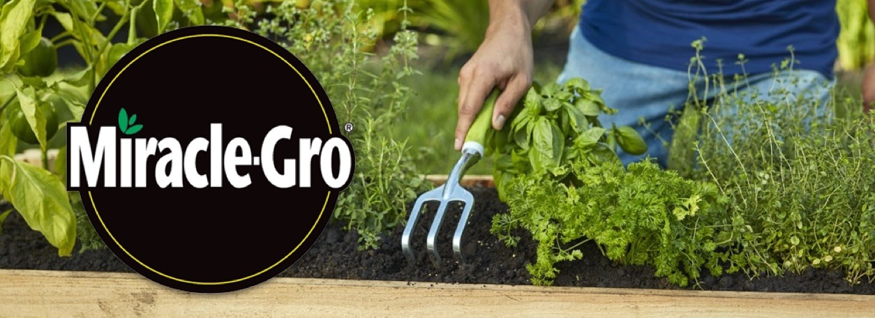 Miracle Grow logo with person tilling garden in background