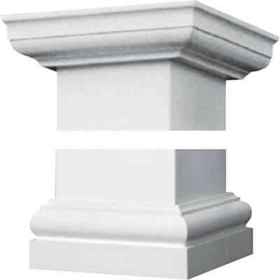 Crown Column Duralite 6 In. White Fiberglass Cap/Base