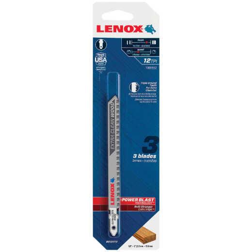 Lenox T-Shank 4-1/2 In. x 12 TPI Bi-Metal Jig Saw Blade, Extra Clean Wood (3-Pack)