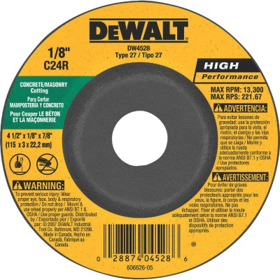 DeWalt HP Type 27 4-1 In. x 1/8 In. x 7/8 In. Masonry Cut-Off Wheel